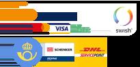 Betala med kort, direktbetalning med bank eller faktura, skickas med Posten, DHL eller Schenker